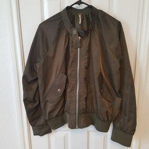 Free People Green Midnight Bomber Jacket